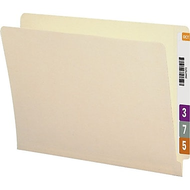 Smead® Reinforced End-Tab Folders, Letter, Single-Tab, 9-1/2in. Front, 100/Box