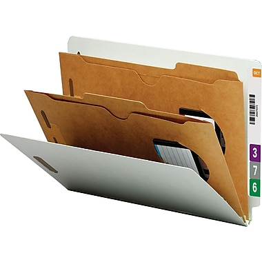 Smead Pocket-Style End-Tab Classification Folders, Letter, 2 Partitions, Gray/Green, 10/Box