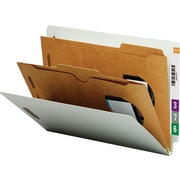 Smead® Pocket-Style End-Tab Classification Folders, Letter, 2 Partitions, Gray/Green, 10/Box