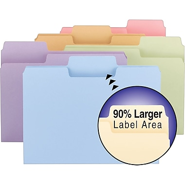 Smead® SuperTab Colored File Folders, Letter, 3 Tab, Assortment A, 100/Box