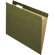 Staples® 100% Recycled Hanging File Folders, Standard Green, 5 Tab, Tabs & Inserts Included, 25/Box
