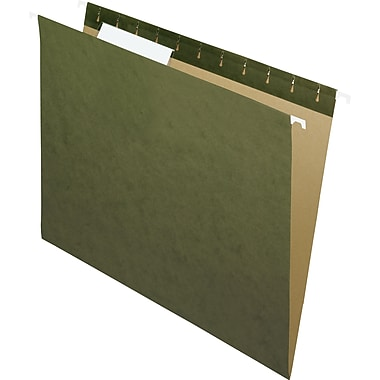 Staples® 100% Recycled Reinforced Hanging File Folders, Letter, 3 Tab, 25/Box