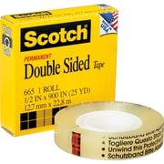 "Scotch® Permanent Double-Sided Tape, 1/2"" x 25 Yards, 1"" Core"