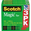 Scotch® Magic™ Tape 810, 1/2in. x 36 yds, 1in. Core, 3/Pack