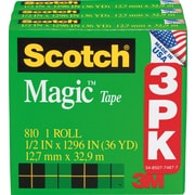 Scotch® Magic™ Tape 810, 1/2 x 36 yds, 1 Core, 3/Pack