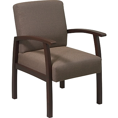Office Star™ Taupe Fabric with Espresso Finish Wood Guest Chair