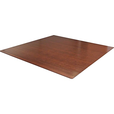 Anji Mountain Roll-Up Bamboo Chair Mat, Rectangular, 48in. x 42in., Dark Cherry