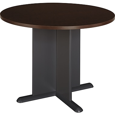 Bush Westfield 42in. Round Conference Table, Mocha Cherry/Graphite Gray, Installed