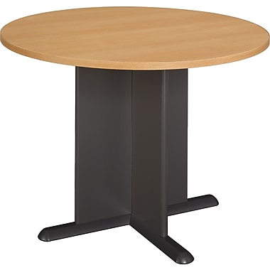 Bush Cubix 42in. Round Conference Table, Light Oak/Sage