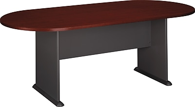 Bush Business Westfield 82W x 35D Racetrack Conference Table Cherry Mahogany Graphite Gray
