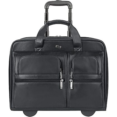 SOLO® Rolling Leather Laptop Case, Black, 15.6in.