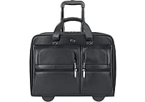 SOLO® Rolling Leather Laptop Case, Black, 15.6'