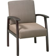 Office Star™ Taupe Fabric with Mahogany Finish Wood Guest Chair