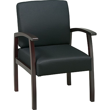 Office Star™ Black Fabric with Mahogany Finish Wood Guest Chair