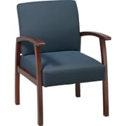 Office Star™ Blue Fabric with Cherry Finish Wood Guest Chair