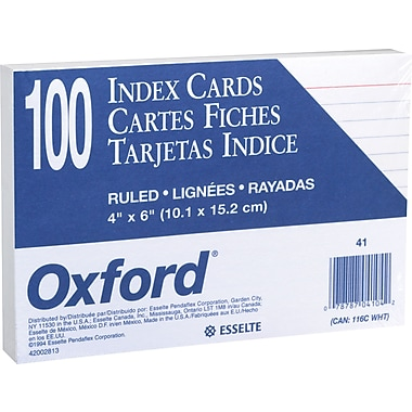 Oxford® 4in. x 6in. Ruled White Index Cards, 100/Pack