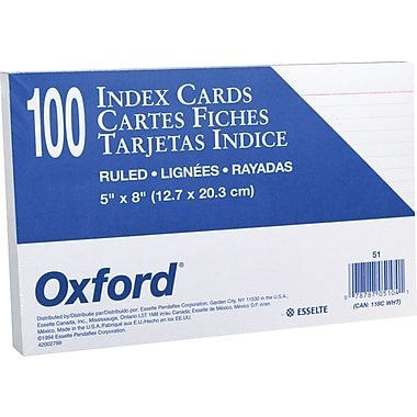 Oxford® 5in. x 8in. Ruled White Index Cards, 100/Pack