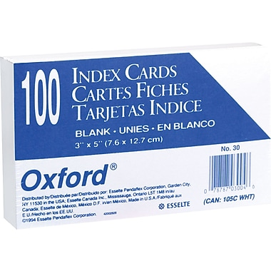 Oxford® 3in. x 5in. Unruled White Index Cards, 100/Pack