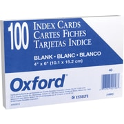 "Oxford® 4"" x 6"" Unruled White Index Cards, 100/Pack"