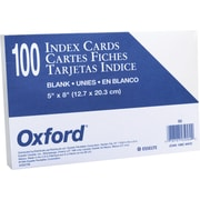 Oxford® 5 x 8 Unruled White Index Cards, 100/Pack
