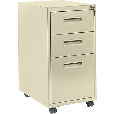 basyx™ Vertical Mobile File Cabinet, 22in. 3-Drawer, Letter Size, Putty