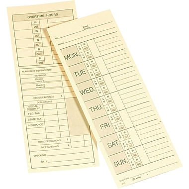 Double-Sided Time Cards, Model 9791, 3-3/8in. x 9in.