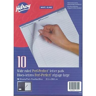 Hilroy - Bloc-notes avec perforations, 8-1/2 po x 11 po, réglage large, blanc, 50 feuilles, paq./10