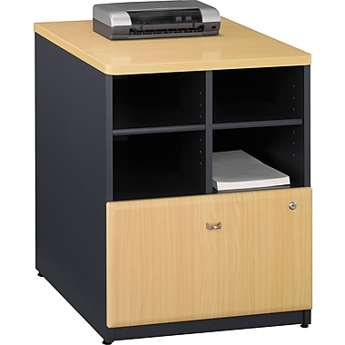 Bush® Cubix 24in. Storage Cabinet, Euro Beech/Slate Gray, Fully assembled