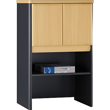 Bush® Cubix 24in. Storage Hutch, Euro Beech/Slate Gray, Fully assembled