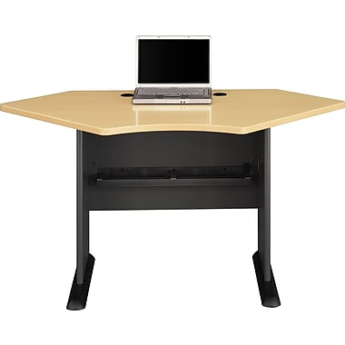 Bush® Cubix 42in. Corner Desk, Euro Beech/Slate Gray