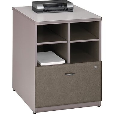 Bush® Cubix 24in. Storage Cabinet, Pewter/White Spectrum