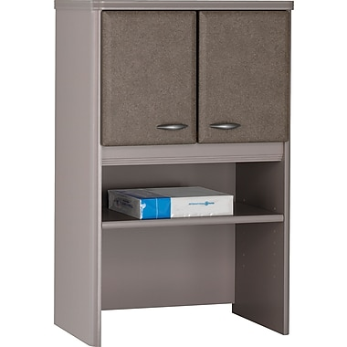 Bush® Cubix 24in. Storage Hutch, Pewter/White Spectrum, Fully Assembled