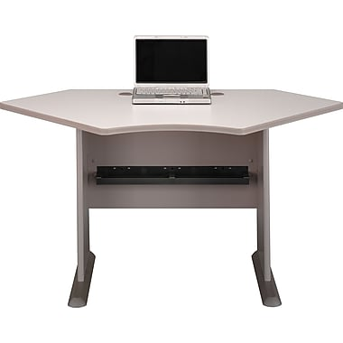 Bush® Cubix 42in. Corner Desk, Pewter/White Spectrum, Fully assembled