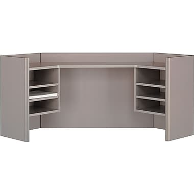 Bush® Cubix 42in. Corner Hutch, Pewter/White Spectrum, Fully assembled