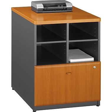 Bush® Cubix 24in. Storage Cabinet, Natural Cherry/Slate Gray, Fully assembled