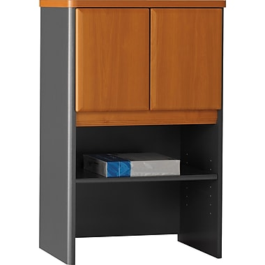 Bush® Cubix 24in. Storage Hutch, Natural Cherry/Slate Gray
