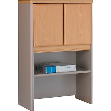 Bush® Cubix 24in. Storage Hutch, Light Oak/Sage, Fully assembled