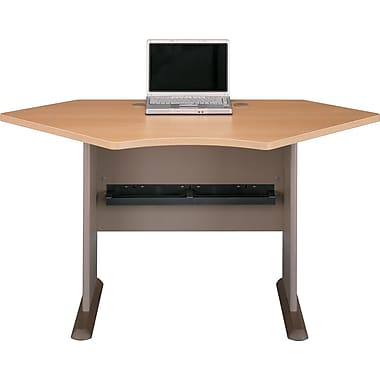 Bush® Cubix 42in. Corner Desk, Danish Oak/Sage, Fully assembled