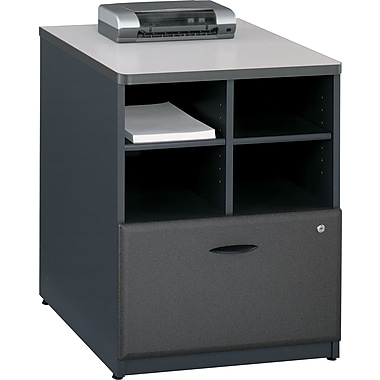 Bush® Cubix 24in. Storage Cabinet, Slate Gray/White Spectrum, Fully assembled