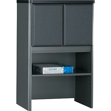 Bush® Cubix 24in. Storage Hutch, Slate Gray/White Spectrum