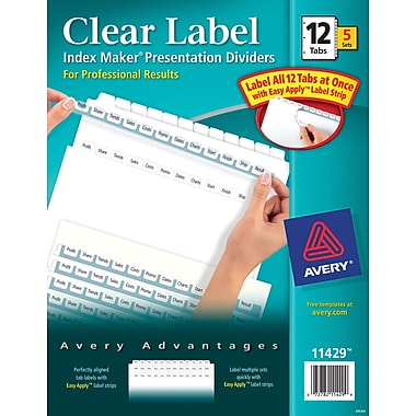 Avery Index Maker Clear Label Tab Dividers, 12-Tab, White, 5 Sets/Pack