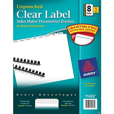 Avery Index Maker Clear Label Tab Dividers, 8-Tab Unpunched, White, 5 Sets/Pack