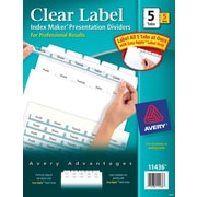 Avery® Index Maker Clear Label Tab Dividers, 5-Tab, White, 5 Sets/Pack