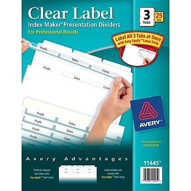 Avery Index Maker Clear Label Tab Dividers, 3-Tab, White, 25 Sets/Pack