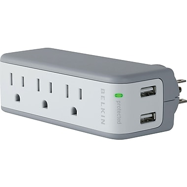 Belkin 3-Outlet 918 Joule Mini Surge Protector with USB Charger