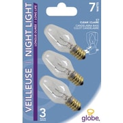 Globe C7 Incandescent Light Bulbs, 7W, Clear, 3/Pack