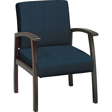 Office Star™ Custom Mahogany Finish Wood Guest Chair, Blue Galaxy