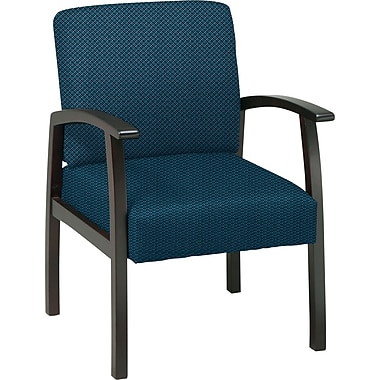 Office Star™ Custom Espresso Finish Wood Guest Chair, Blue Galaxy
