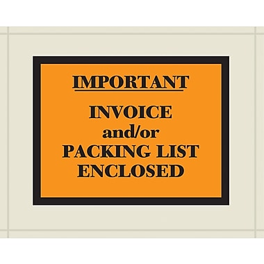 Packing List Envelopes, English Full Face Style, Packing List Enclosed, Orange/Black, 4-1/2