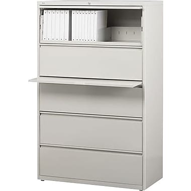 Hirsh HL10000 Series Lateral File Cabinet, 5-Drawer, Grey